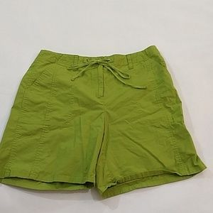 Talbots Green Cotton Shorts,Size 10, Button Pocket